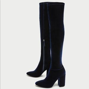 NWT Zara Navy Blue Over the Knee High Heel Boots